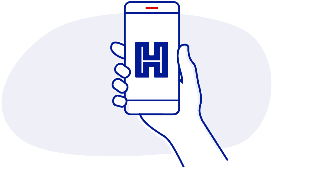 Icon of hand holding mobile phone with Helix app